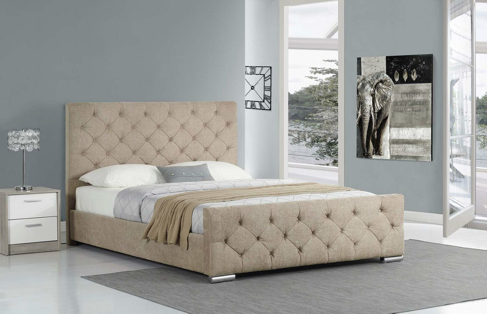New Upholstered Fabric Bed Frame Double King Size   Silver Grey Mink Light  Brown