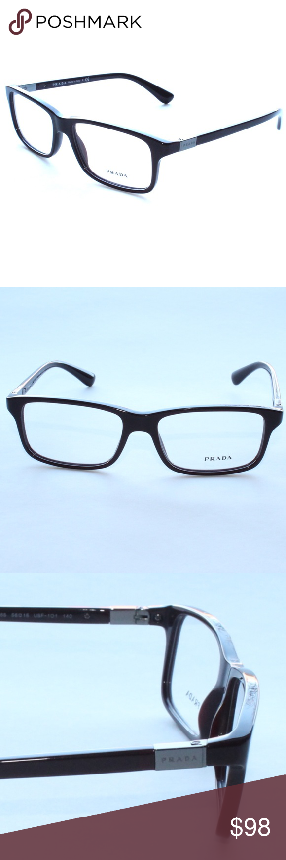 1e601ce034 Prada Eyeglasses VPR 06s 56 16 USF-101 Brand New 100% authentic Prada