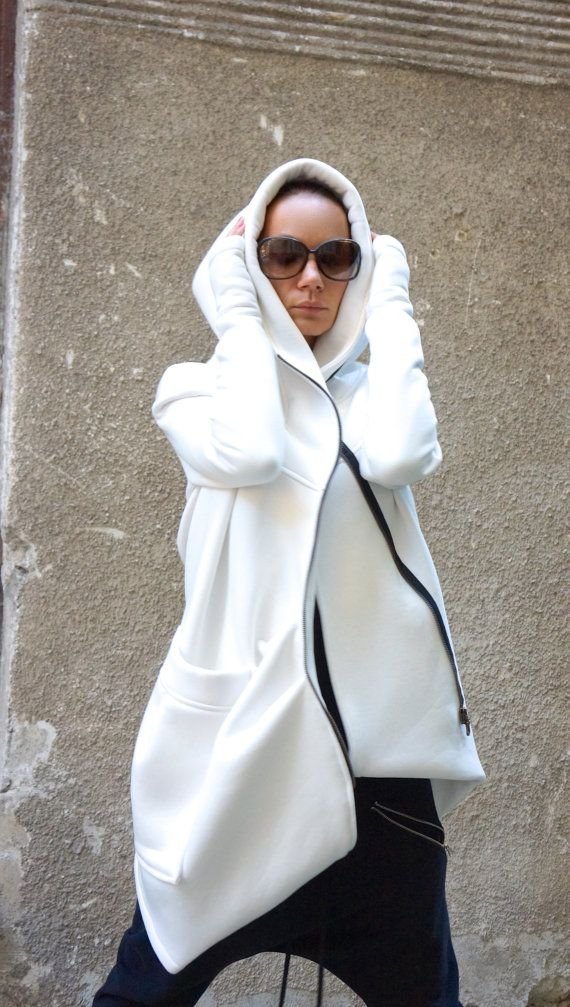 12a3f39fd8de NEW Lined Warm Asymmetric Extravagant Off White Hooded by Aakasha
