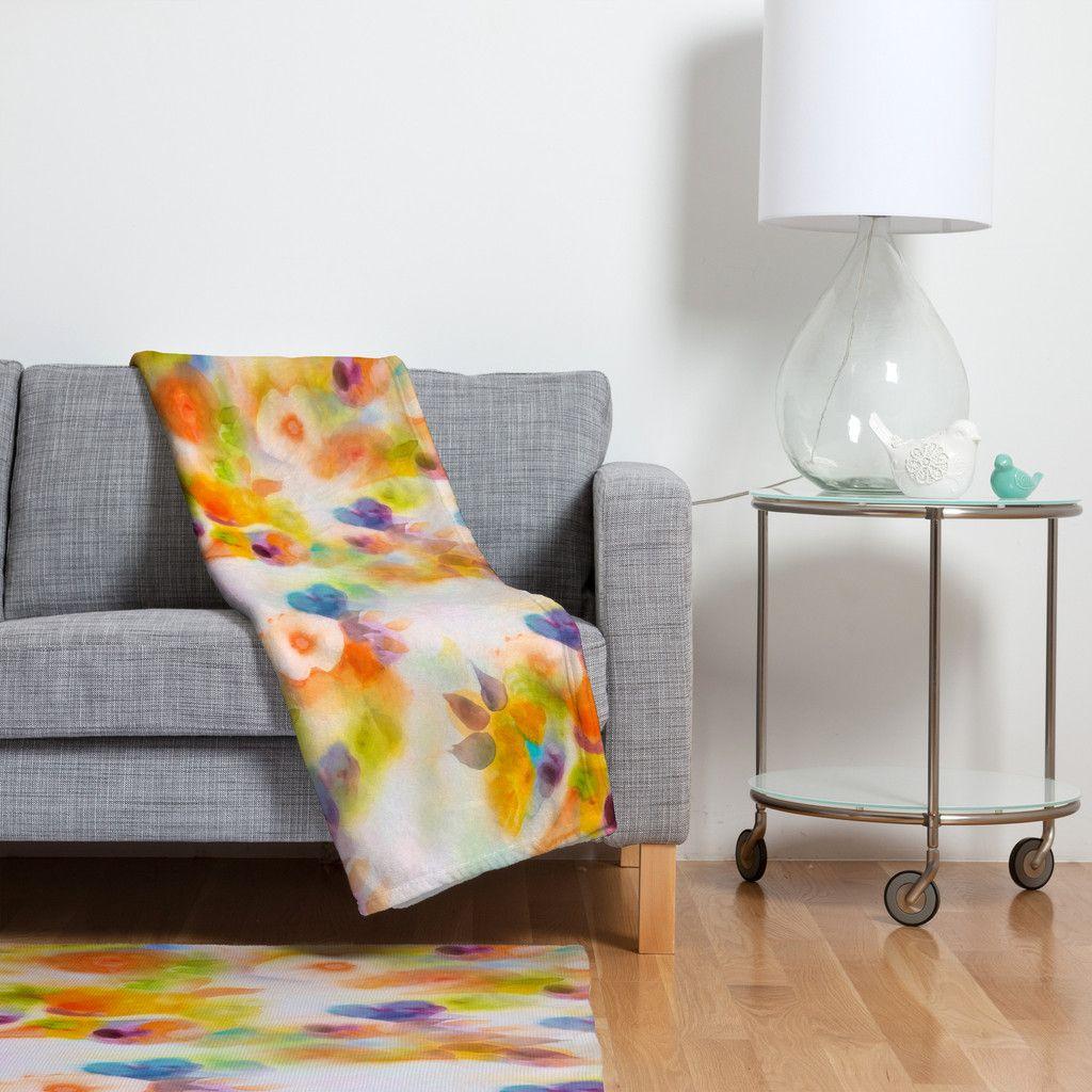 Marta Spendowska Watercolor Vintage Peonies Fleece Throw Blanket | DENY Designs Home Accessories