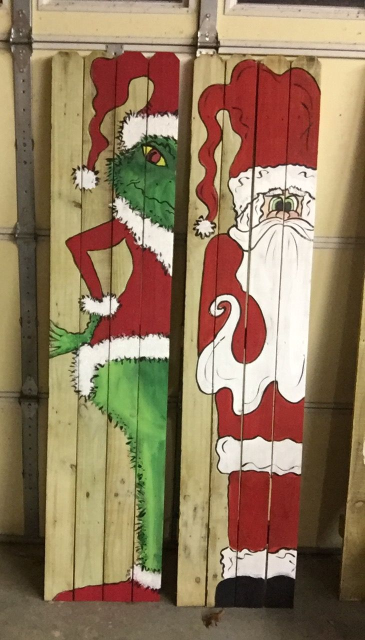 Grinch And Santa Wood Signs Christmas Signs Wood Grinch Christmas Party Christmas Decorations Diy Outdoor