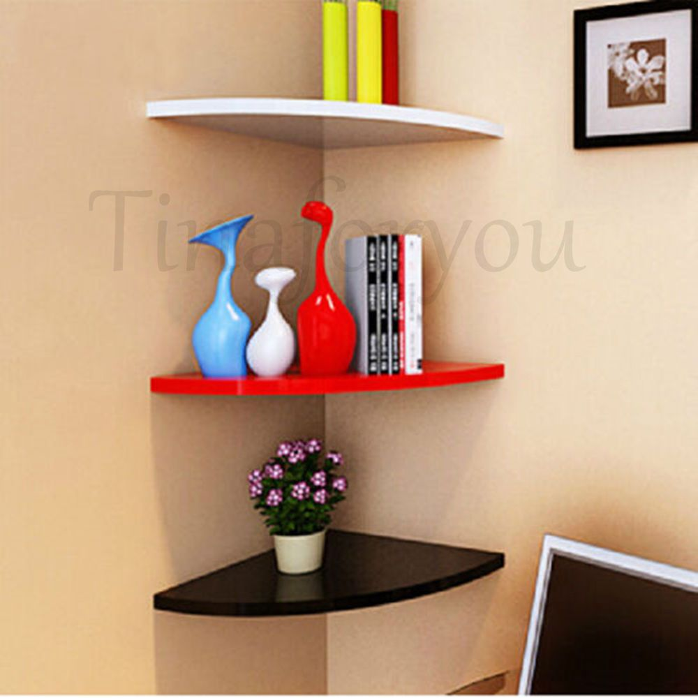 20 For One Shelf Comes In White Black Or Red Corner Wall Mounted Floating Shelves Wooden Book Storage Display Unit Home Unbranded