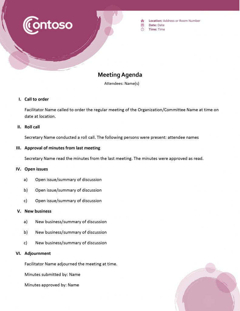 Agendas Office Regarding Meeting Agenda Notes Template 11 Template Ideas 11 Template Ideas Meeting Agenda Template Agenda Template Meeting Agenda