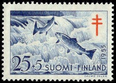 Postimerkki, Suomi - 1955