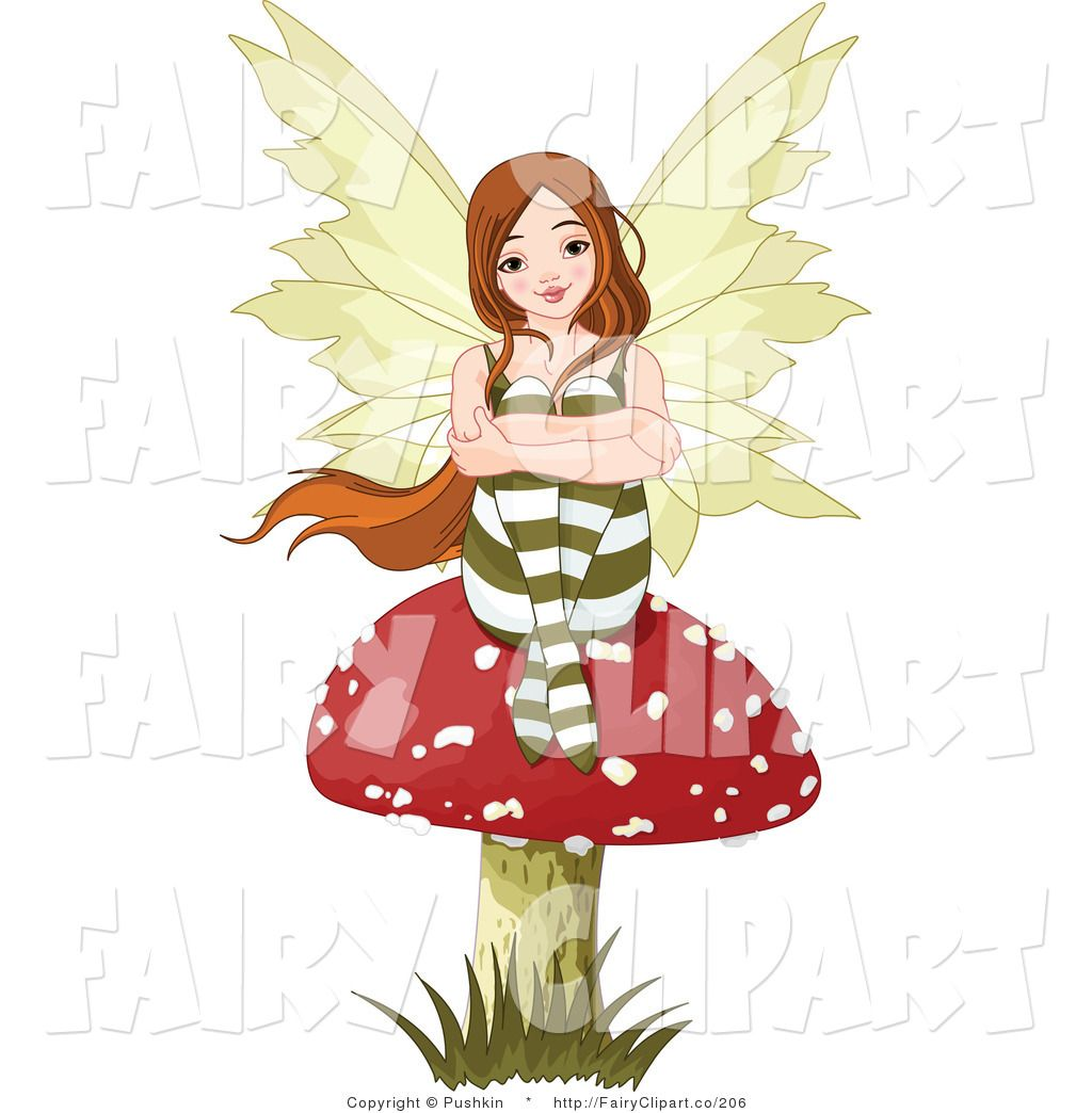 Brunette fairy seated on a mushroom fairy clip art pushkin for Fairy on a mushroom drawing