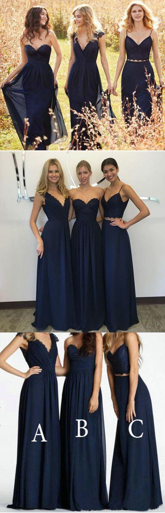 Convertible new design elegant lace chiffon navy blue a line floor