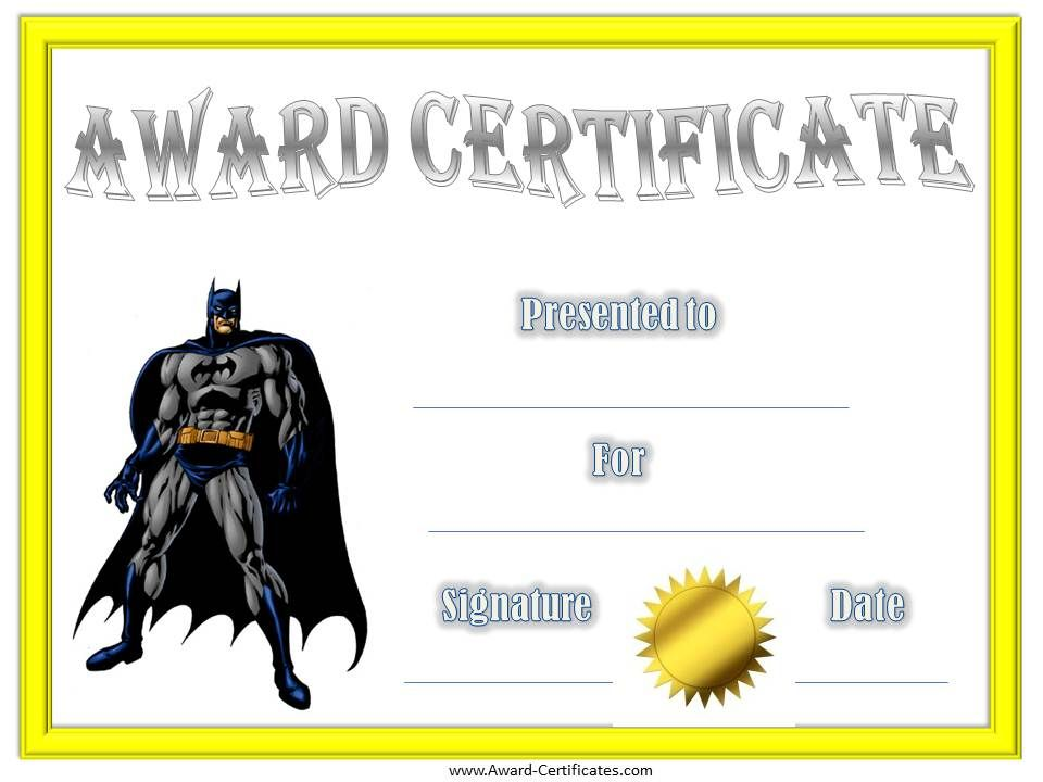 Batman Award Certificate Blue and Gold Banquet Award