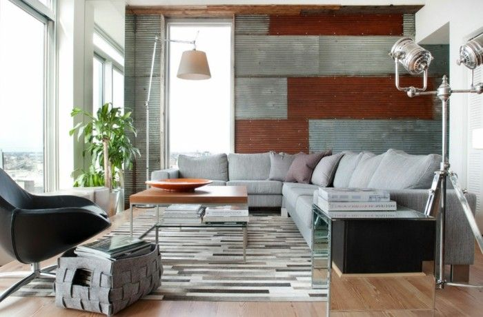 Ausgefallene Wohnzimmer ~ Wohnzimmer lampe im industriellen stil ausgefallene wandgestaltung
