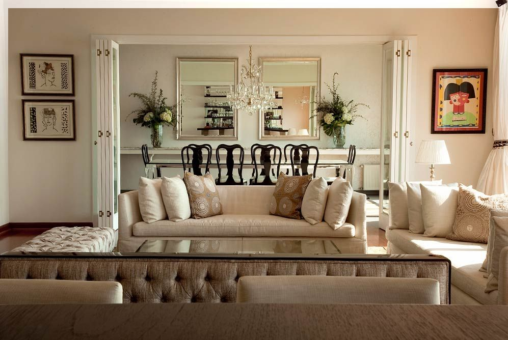 Integracion de sala y comedor puertas plegables con vidrios biselados puertas pinterest - Puertas de comedor ...