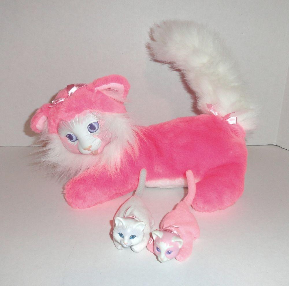 Vintage Kitty Surprise Plush Set Cat Hot Pink 1992 Hasbro 2 Babies