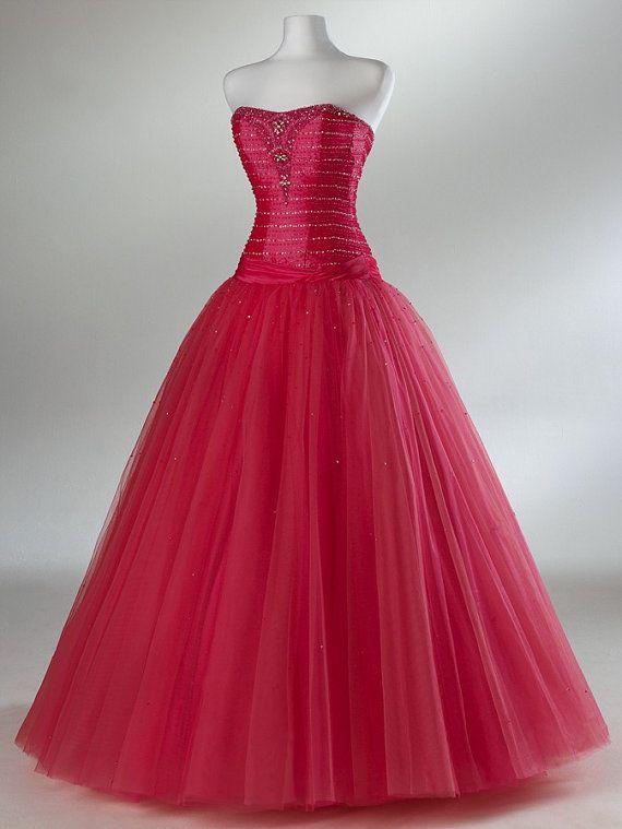 Custom make ball gowns taffeta/tulle Dress Bridesmaid Dress Evening ...