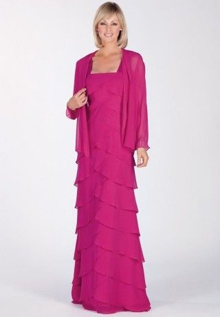 Chiffon Square A Line Long Mother Of The Bride Dress With Matching Jacket