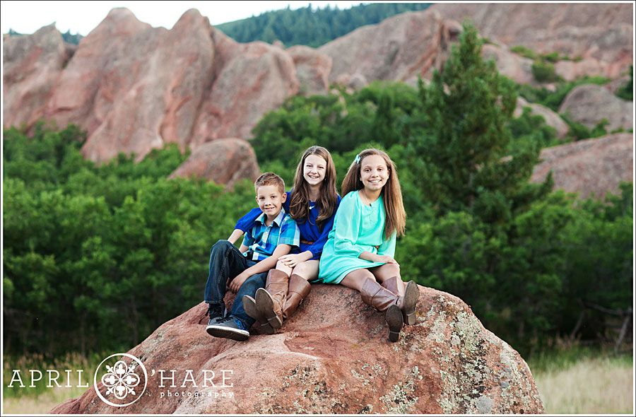 Roxborough State Park Children Pose On The Red Rock Formation At In