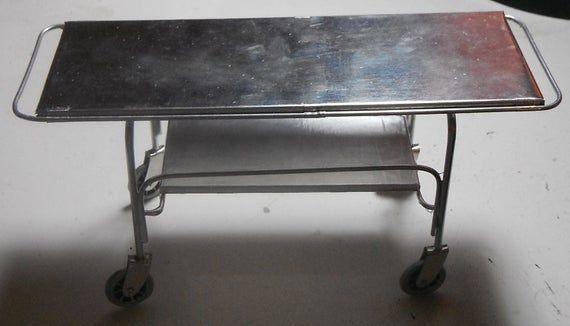 Dollhouse miniature handcrafted Asylum Hospital Medical morgue Gurney table 1/12th #miniaturemedical
