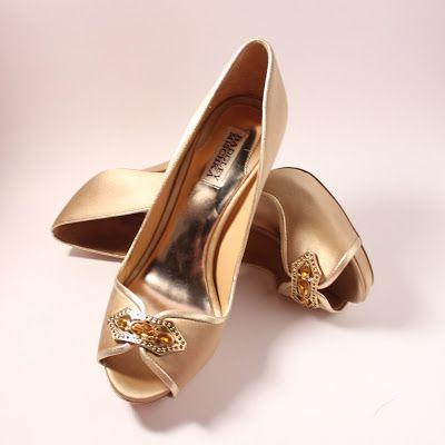 Badgley Mischka Gold Satin Embellished Peep Toe Pumps   Photo from Dana Renee {Style}