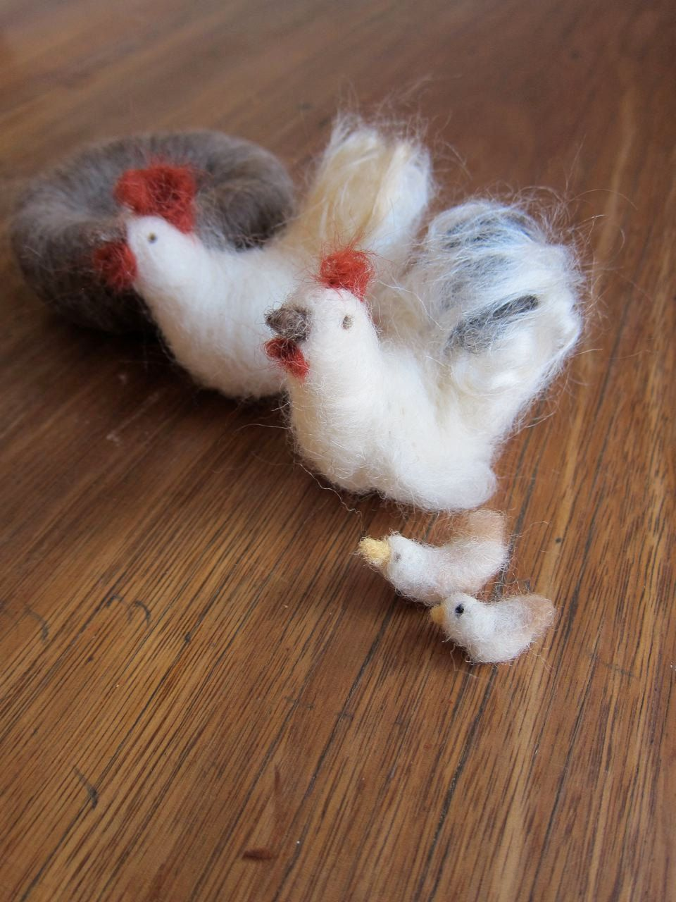 Ready to shipNeedle Felted Chicken Family Complete by FeltandGrain, $35.00