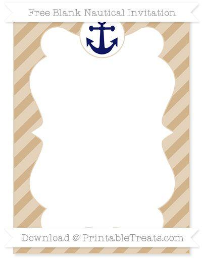 Free Tan Diagonal Striped Blank Nautical Invitation