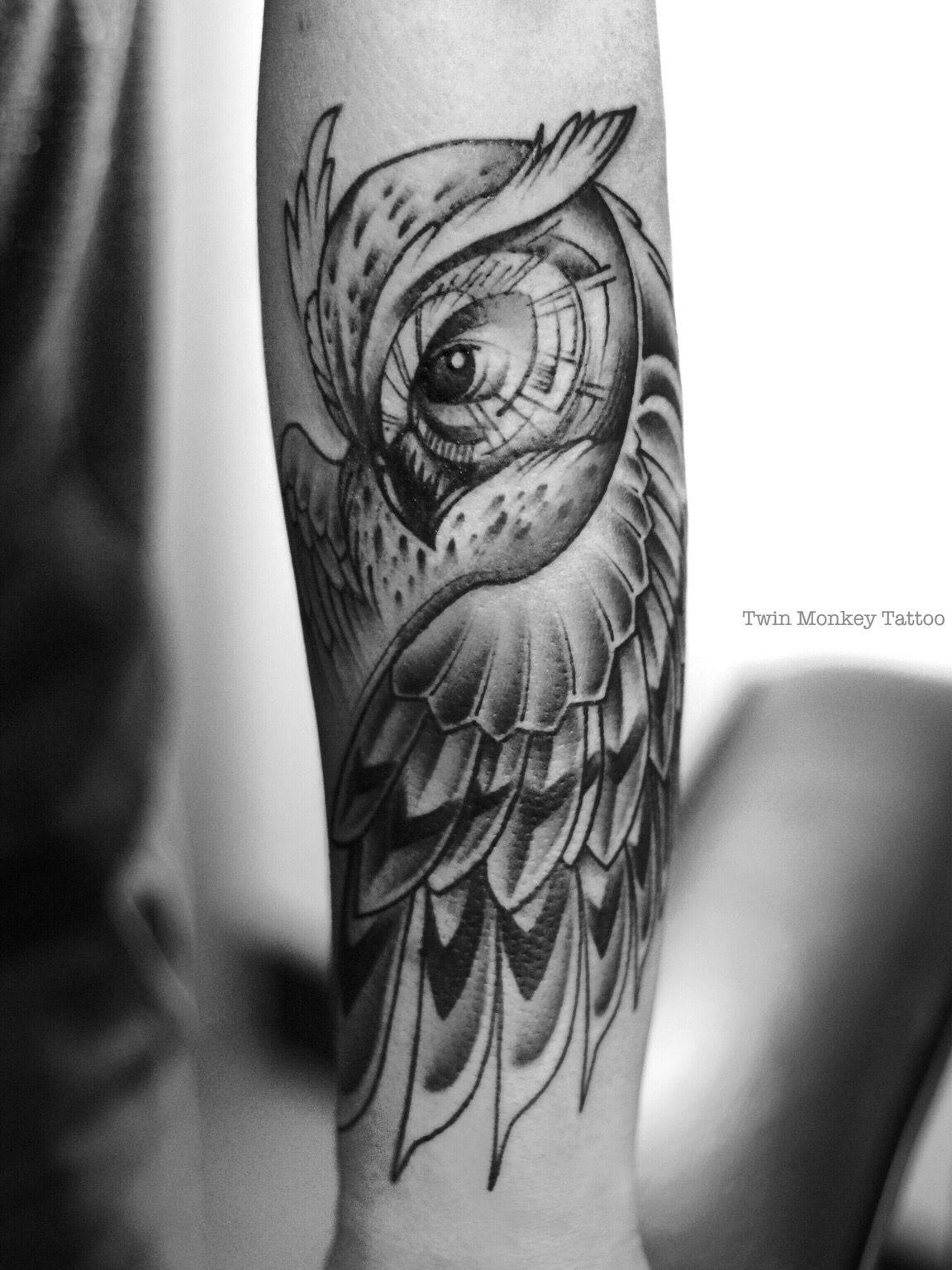 b175c892760ec #twinmonkeytattoo #owl #tattoo #art #black #grey #custom # .