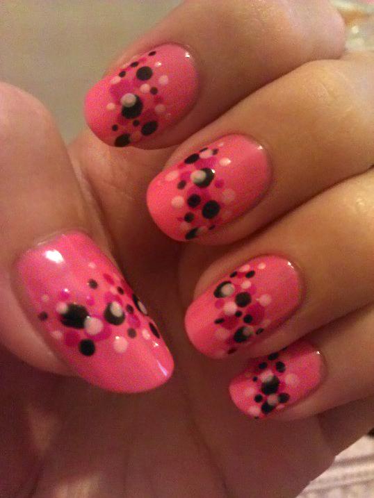 Pink, black and white Polka Dots