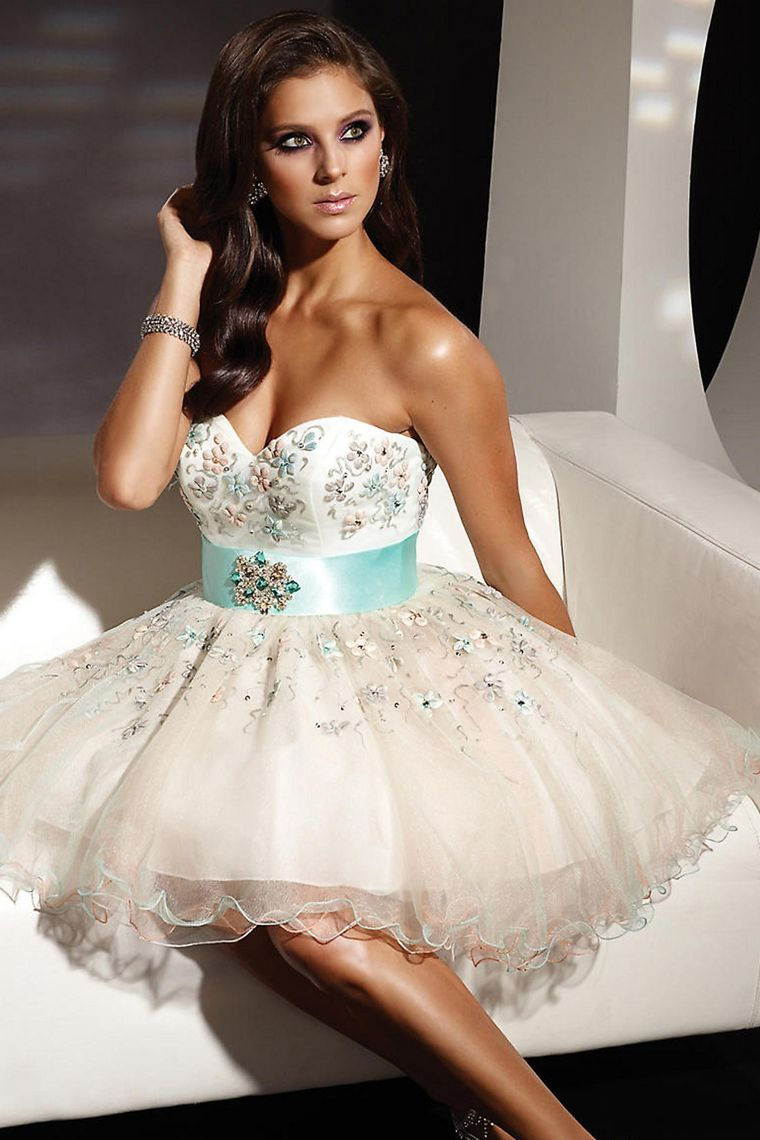homecoming dresses a line sweetheart sash shortmini with