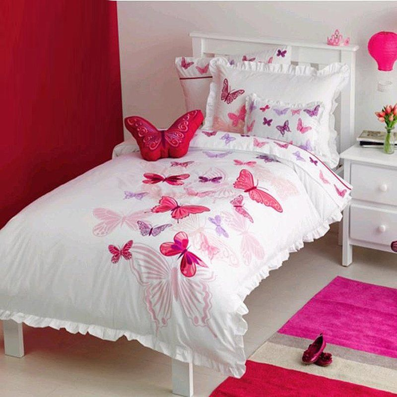 Hot Pink Red And White Beautiful Butterfly Pattern Cute Girly