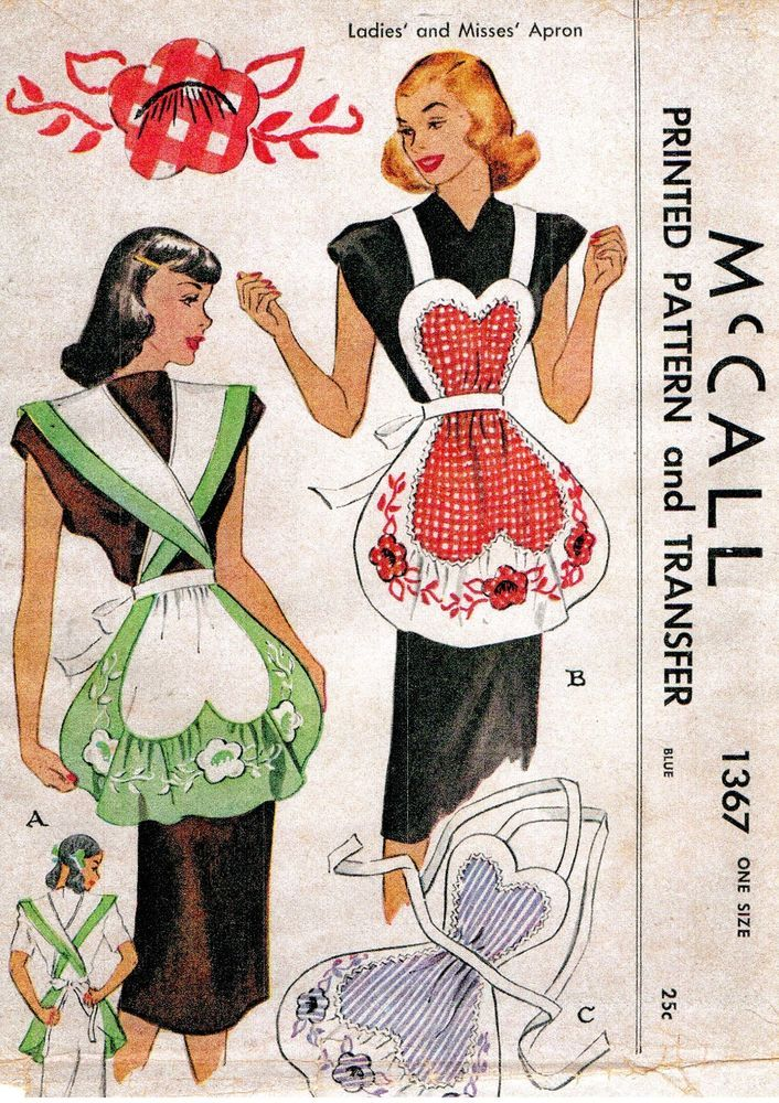 VINTAGE 1947 CHIC LADIES APRON PATTERN-2 ADORABLE STYLES-ONE SIZE FITS ALL- 1040