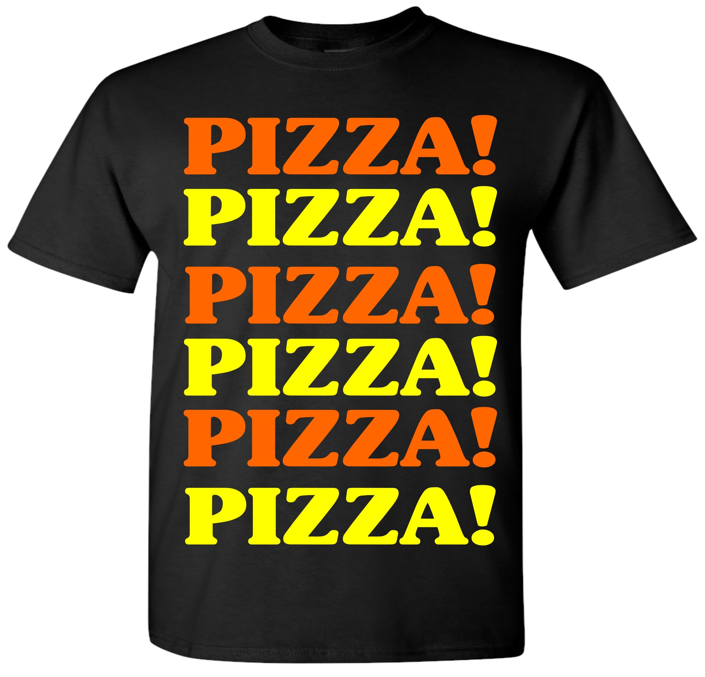 PIZZA PIZZA T-Shirt Printed in multi color Inks, On Black 100 ...