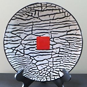 Fused Glass Bowl #258, Bold White Crackle on Black with Flame Accent by Edie Martin http://dailyartshow.faso.com/20151022/1891932