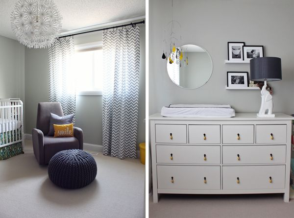 Neutral Gray And Yellow Nursery Chevron Curtains Yellow