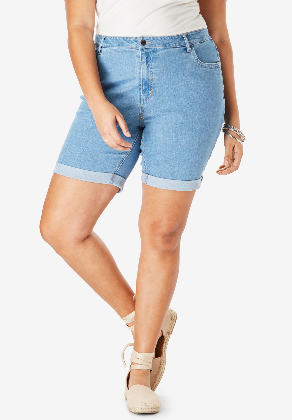 Roamans Womens Plus Size Cuffed Denim Short