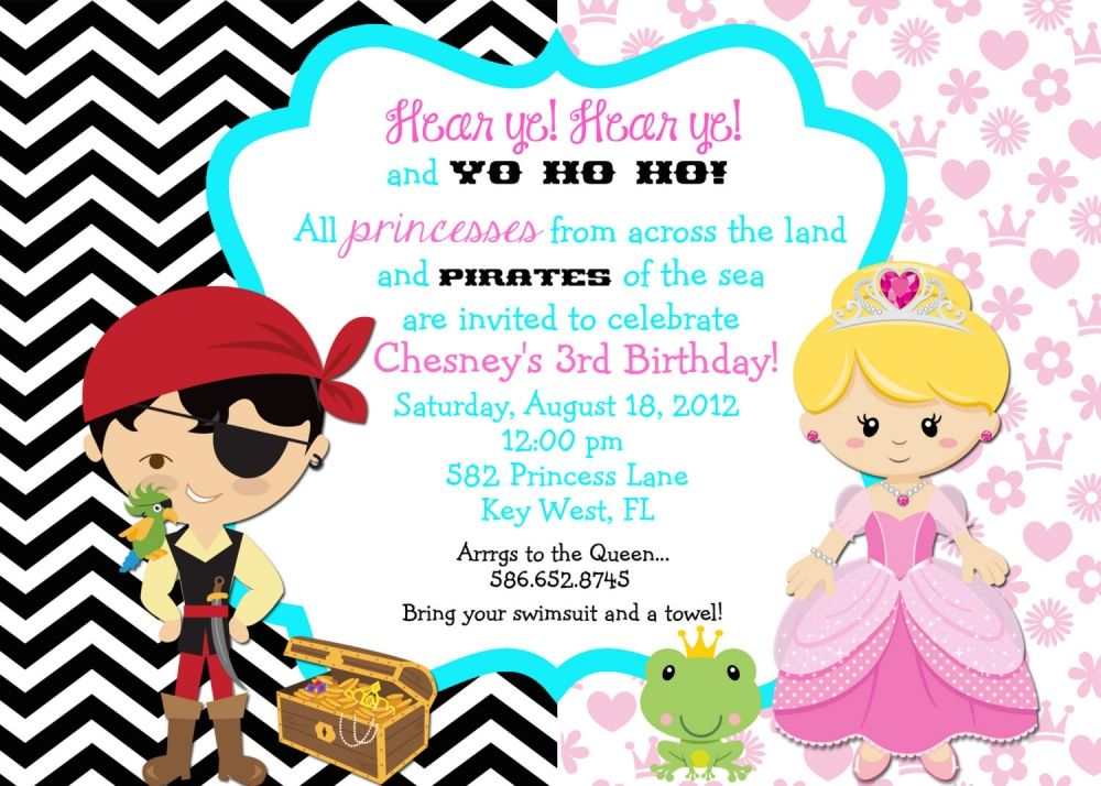 Princess And Pirate Party Invitation Wording | J & J party ideas ...