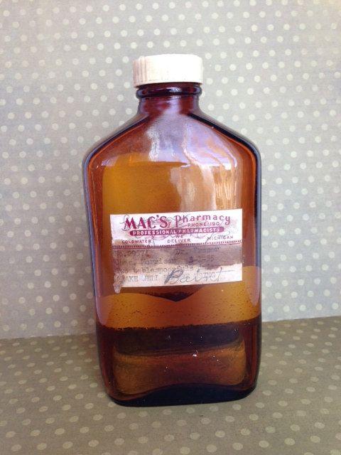 Vintage Pharmacy Medicine Bottle by wonderfulathome on Etsy, $16.00