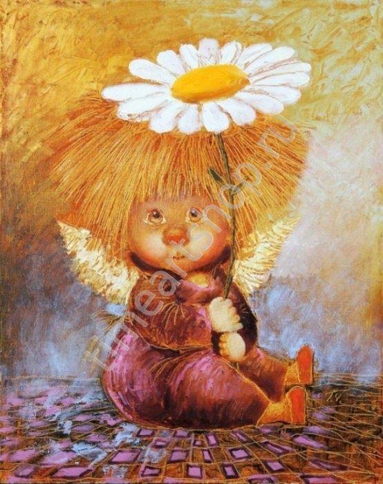 Солнечный ангел с ромашкой, картины раскраски по номерам ...