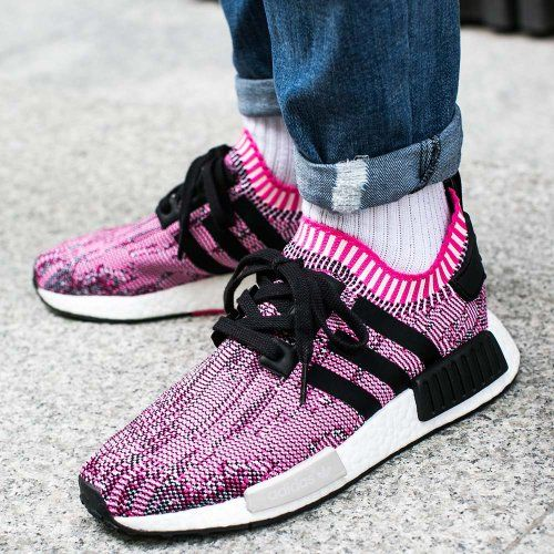 67c76fb42 Available Now  Women s Adidas NMD R1 Shock Pink Black BB2363