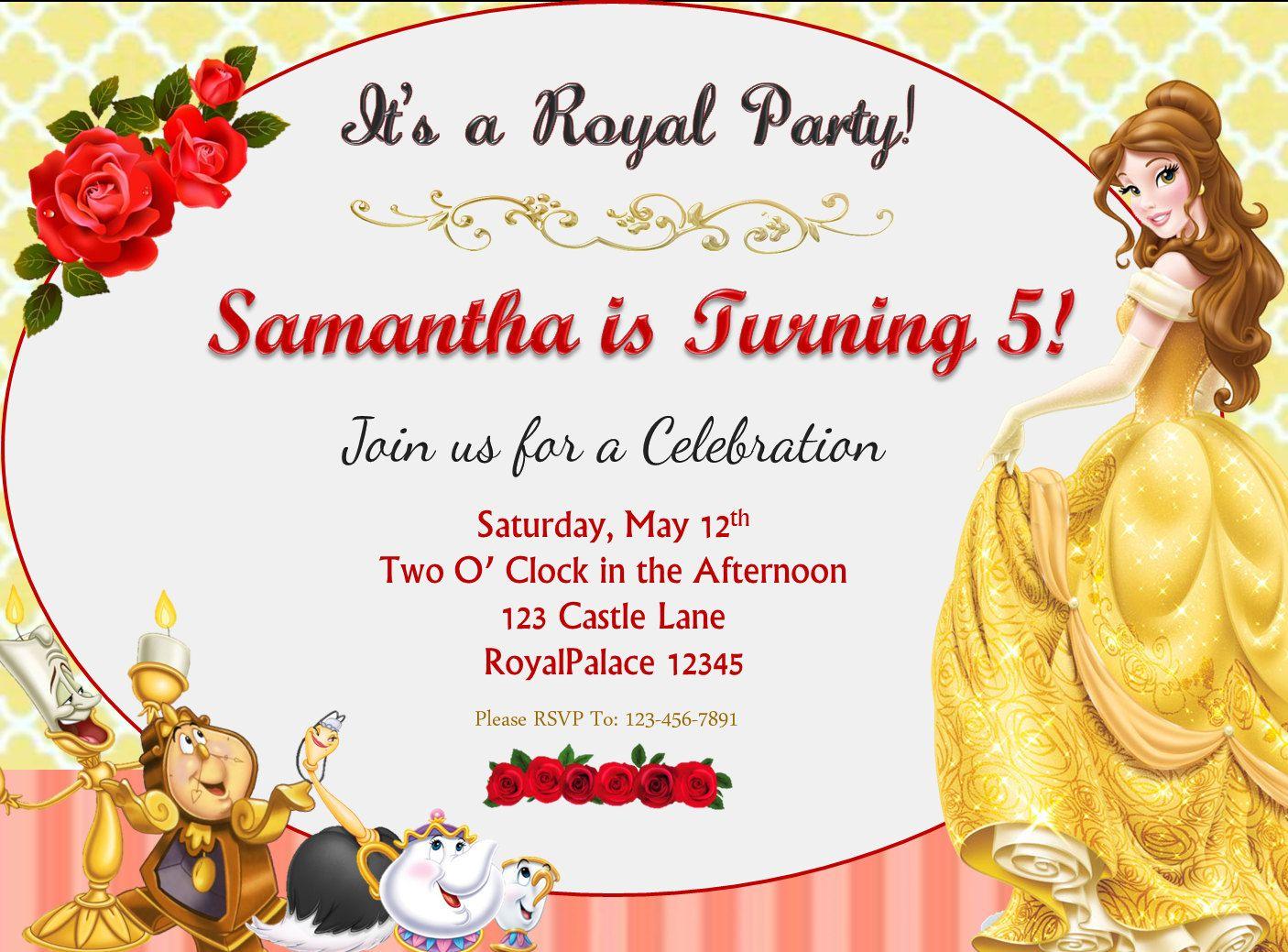 Beauty and the Beast Belle Birthday Invitation   SLG Invitations ...