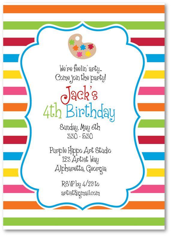 art party invitations! Color Pinterest Art party invitations - celebration invitations templates
