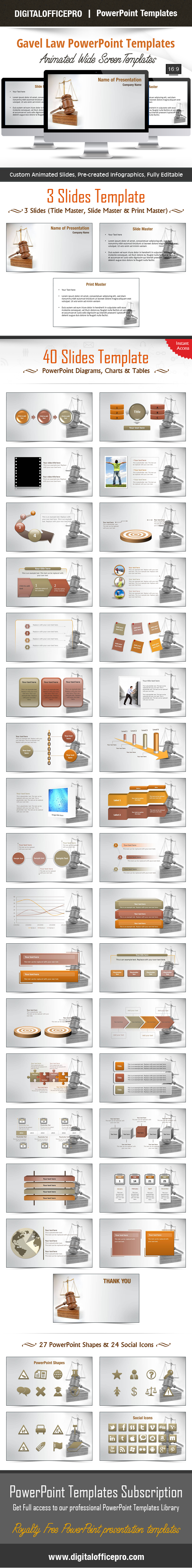 Gavel Law Powerpoint Template Backgrounds Template