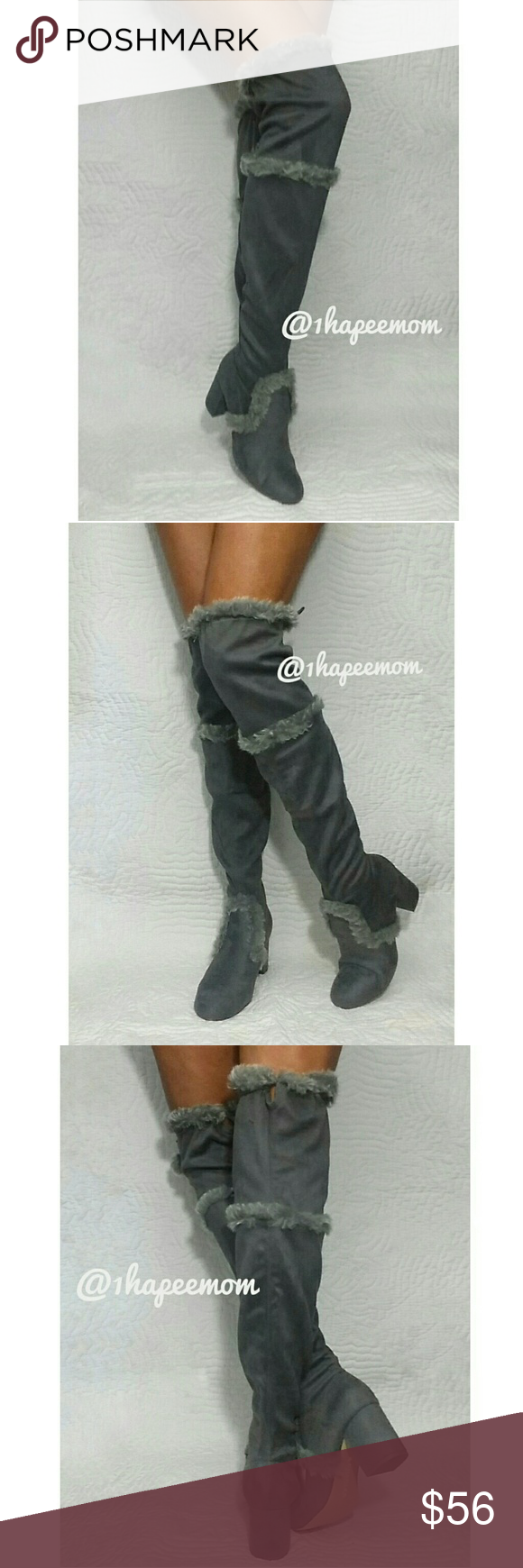 129b22997dd SZ 9 OVER THE KNEE CHARLES DAVID FUR TRIM BOOTS CHARLES BY DAVID CHARLES  ODOM FAUX FUR TRIMMED OVER THE KNEE BOOTS -BRAND NEW STILL IN BOX -PULL ON  -BLOCK ...
