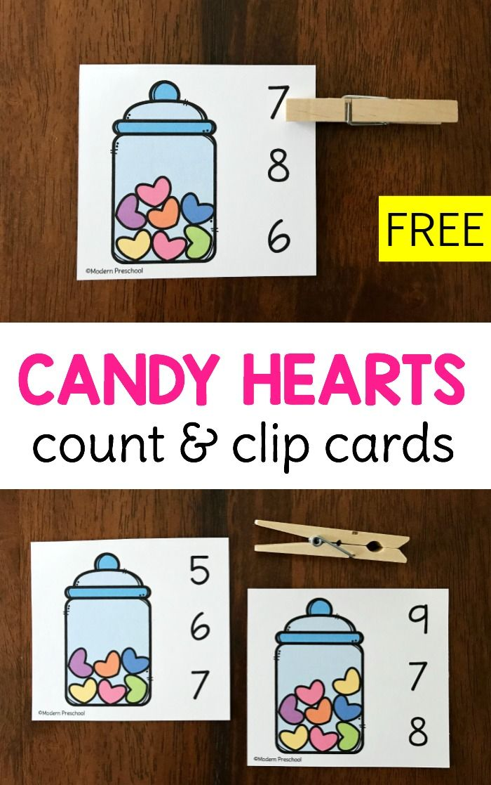 Candy Hearts Count  Clip Cards for Valentines Day  Count