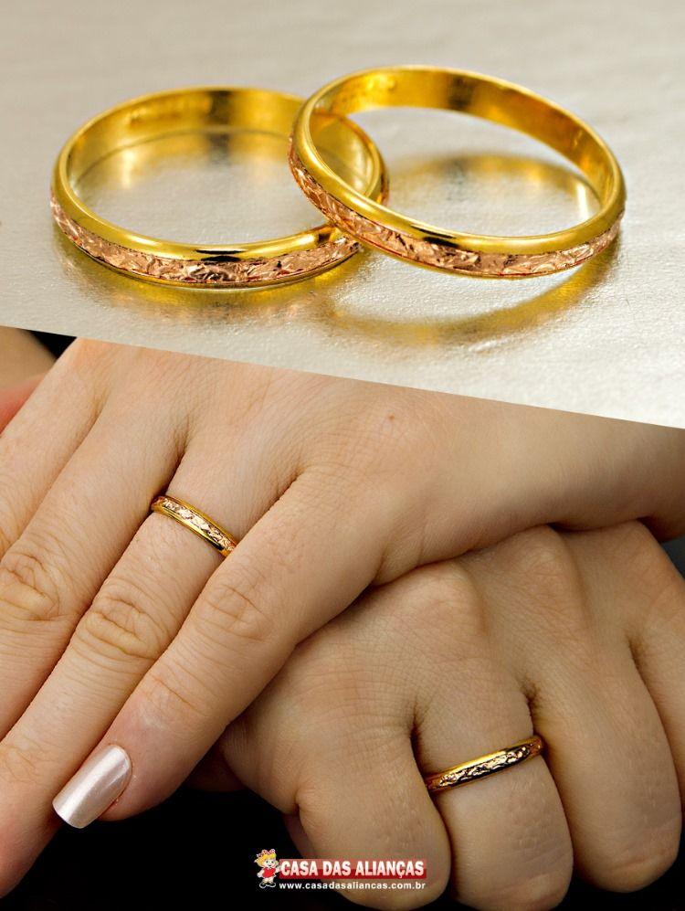 Alianca De Bodas Em Ouro Com Filete Rose As1271 Com Imagens
