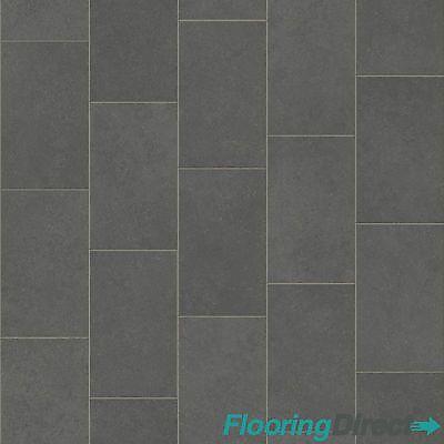 Grey Oblong Slate Effect Vinyl Flooring Kitchen Bathroom 2m Lino ...