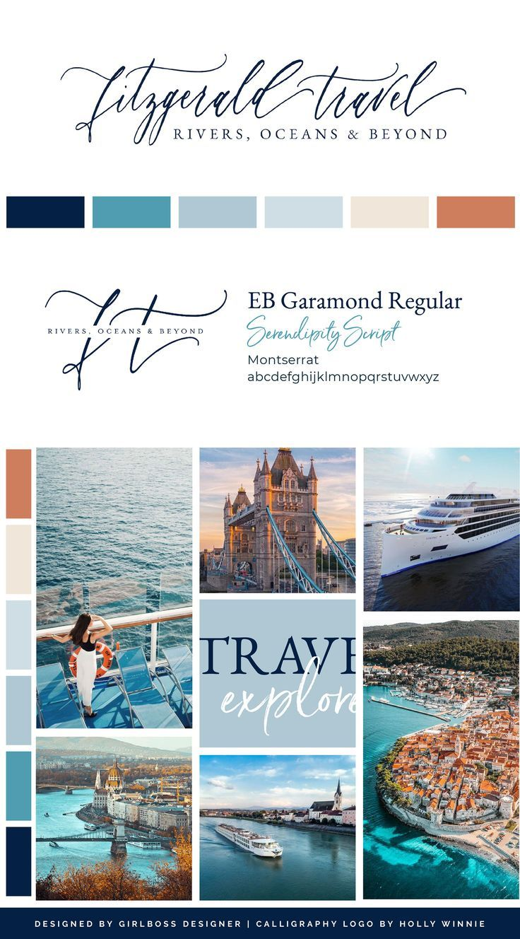 Navy, Blues, and Terracotta Travel Branding for Cruise Travel Advisors, Fitzgerald Travel. Bold travel branding in Navy, Blues, and Terracotta for Cruise Travel Advisors, Fitzgerald Travel. A Sophisticated, Colorful, Moodboard and Showit Website Template and Design that take inspiration from European travel. Graphic Design by Girlboss Designer. #travelbranding  #ShowitTemplate #travelwebsitedesign #travelbusinessbranding #traveldesign #luxurytravel #navybranding #terracotta #girlbossdesigner