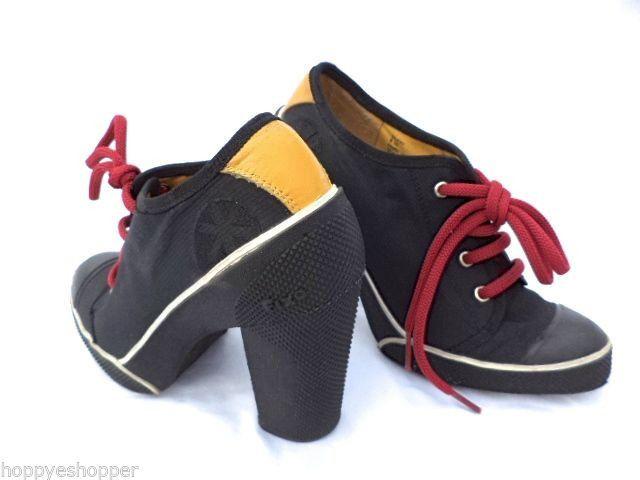 Steve Madden Fix Saucyy Black High Heels Sneaker Shoes Womens 6.5 Canvas  Rubber #SteveMadden #