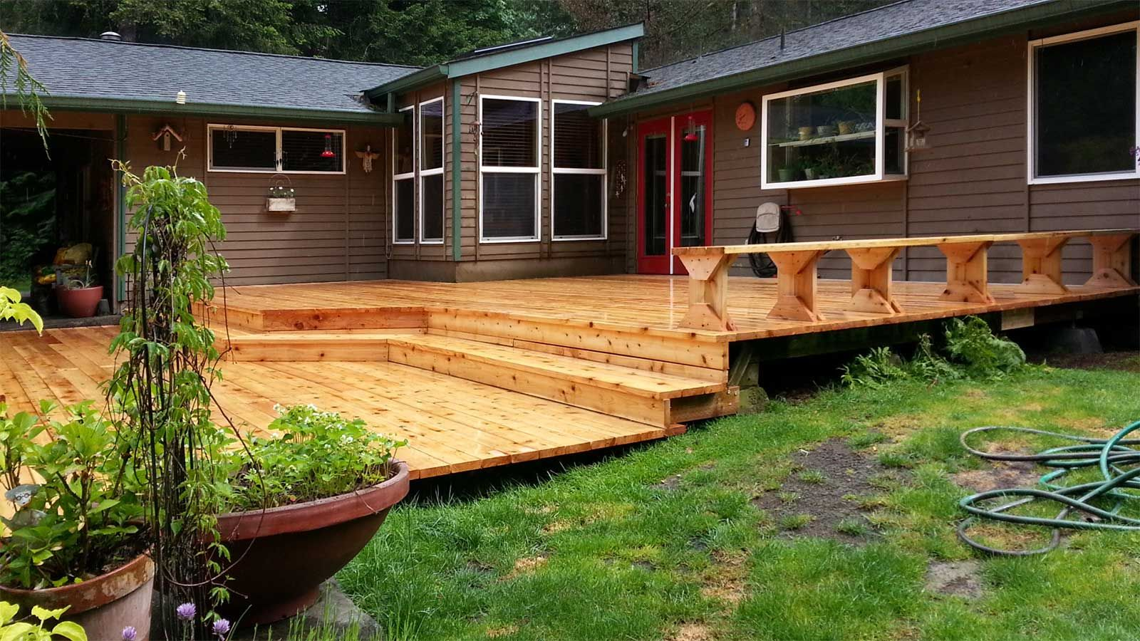 after repairing the frame from the original deck we added a new