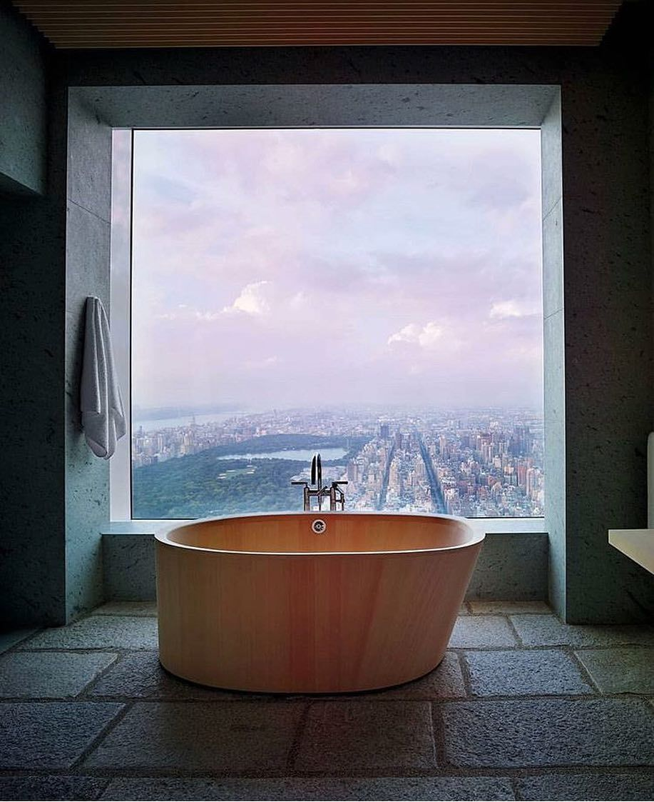 Milk Decoration On Instagram Bathroom With A View By Anthonycotsifas Inspiration Interior Manhattan Apartment City Residences Minimal Interior Design