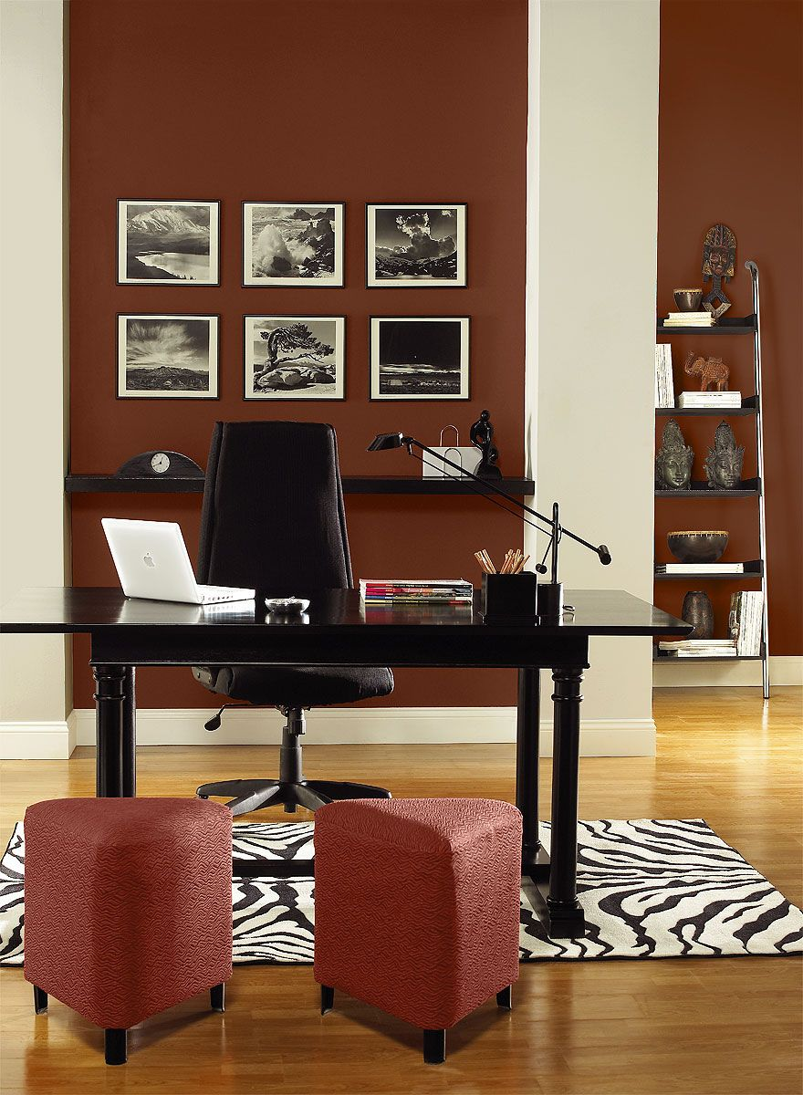 office wall color. Energizing Red Home Office! Walls Color: Rock - Columns Jute Accent Moroccan Spice Office Wall Color O