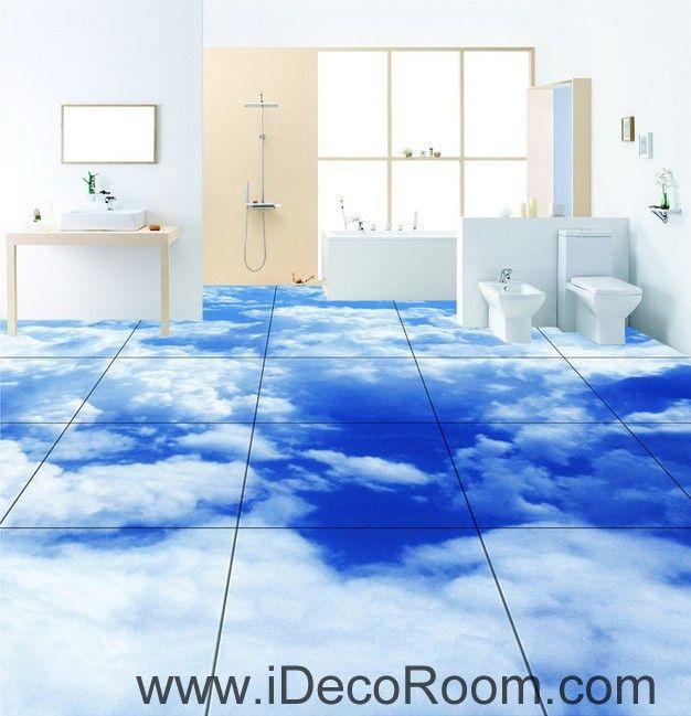 Amazing Blue Sky Clouds 00020 Floor Decals 3D Wallpaper Wall Mural Stickers Print  Art Bathroom Decor Living