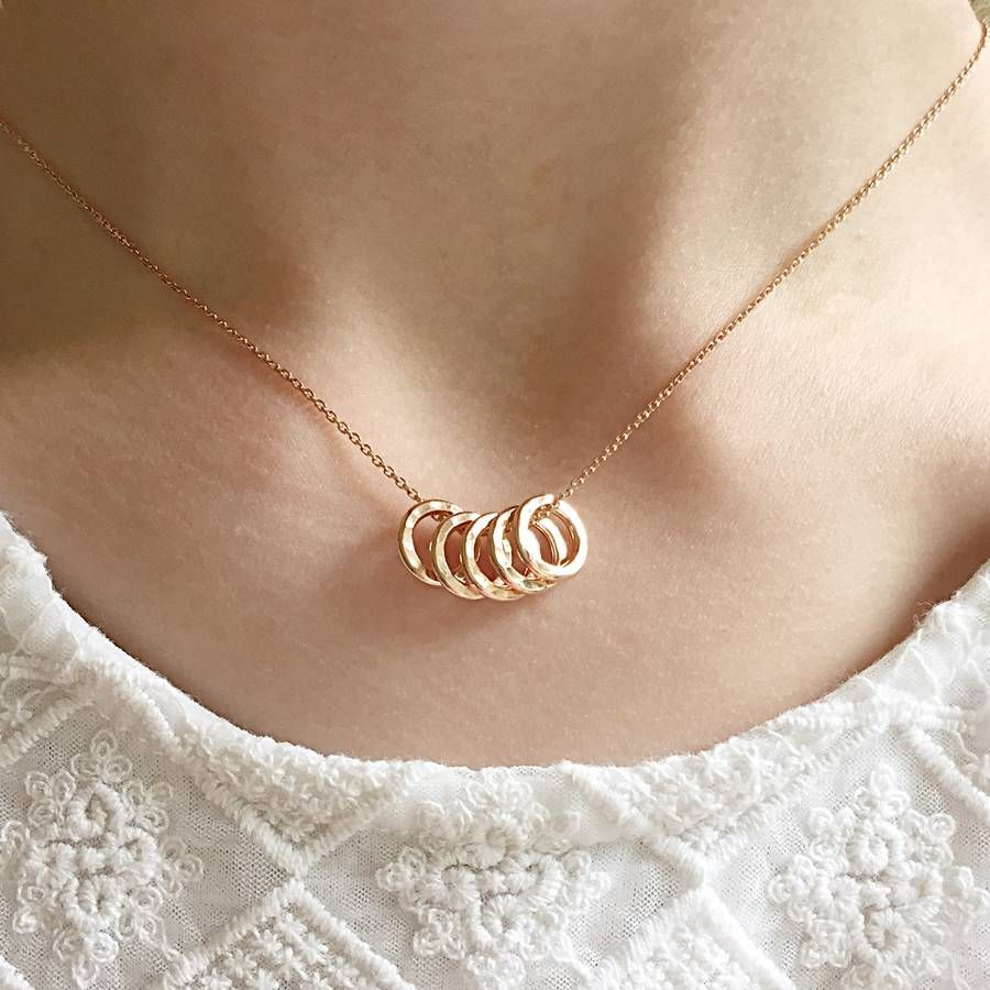 50th Birthday Five Rose Gold Rings Necklace