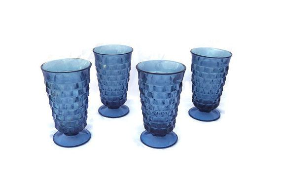 Blue Glass Set Whitehall Glasses Riviera by MichelleandCoVintage