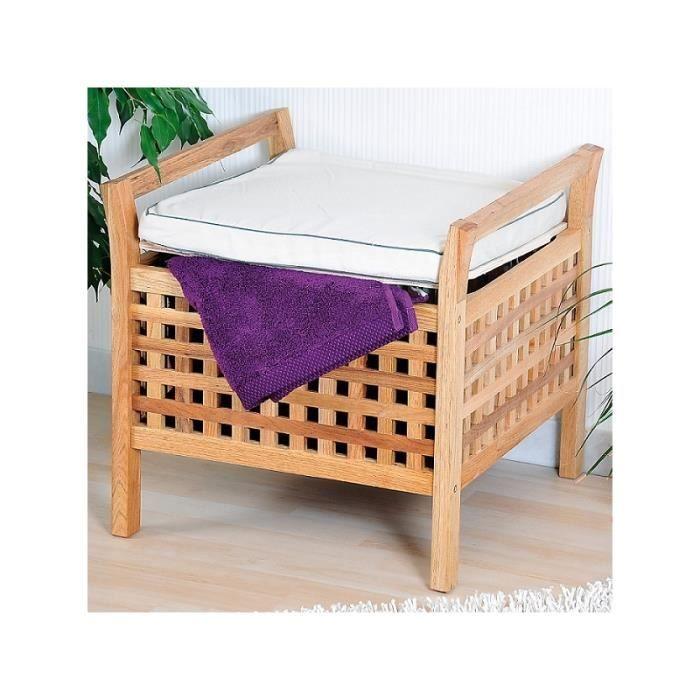 tabouret d 39 entr e avec caisse de rangement et coussin. Black Bedroom Furniture Sets. Home Design Ideas